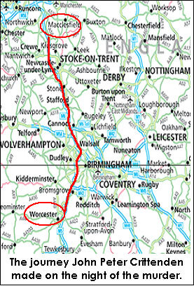 map of the route taken by the killer