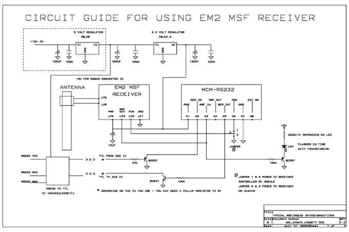 Schematisches Diagramm für den Aufbau einer Zeitempfängers